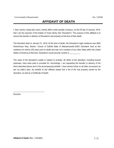 example for affidavit of death