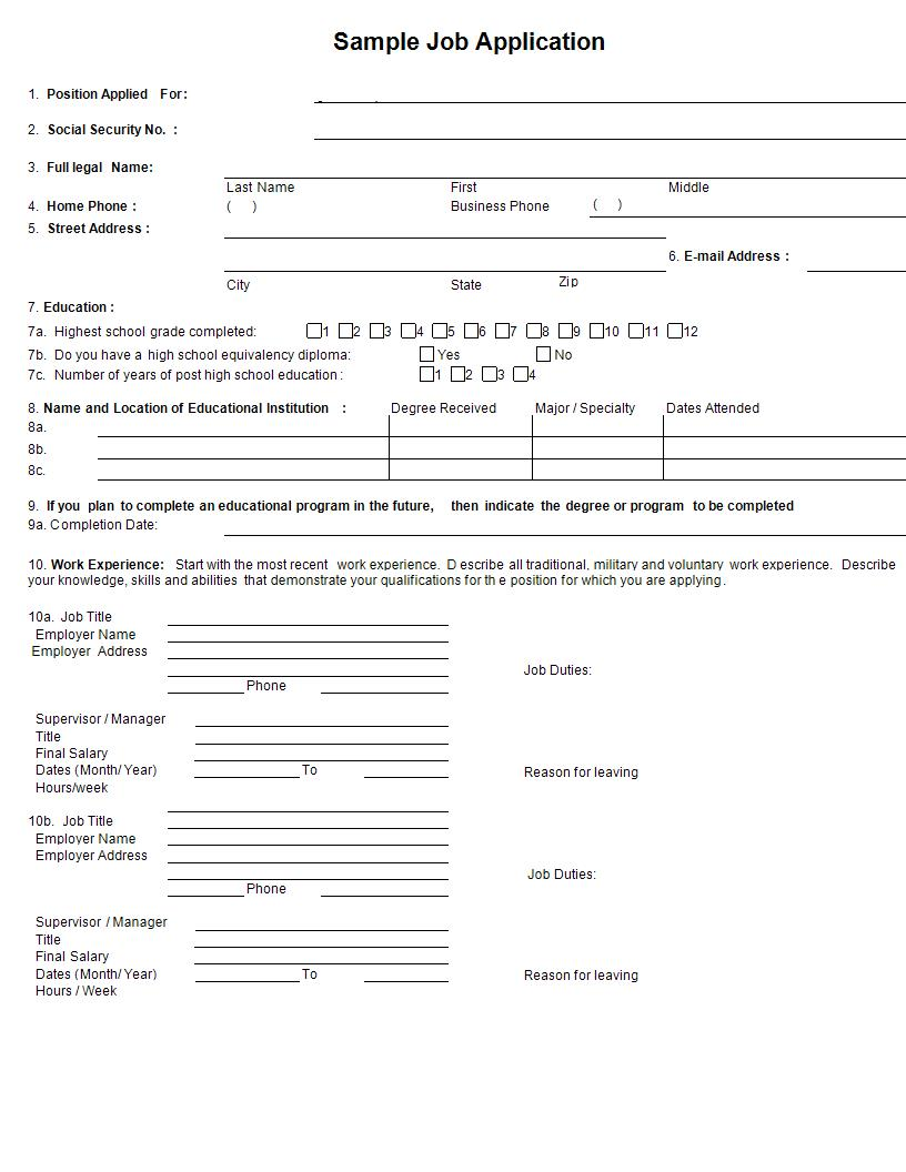 24+ Job Application Form Examples - PDF, DOC
