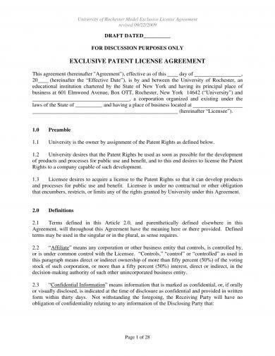 exclusive patent license agreement example1