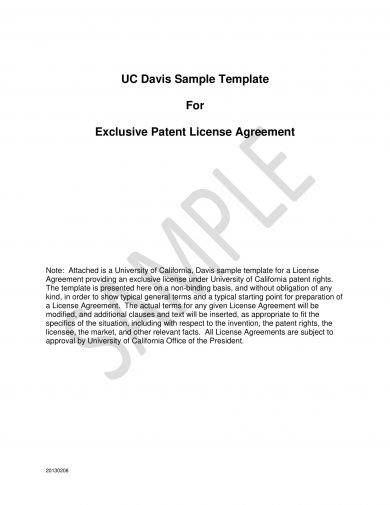 exclusive patent license agreement template example1