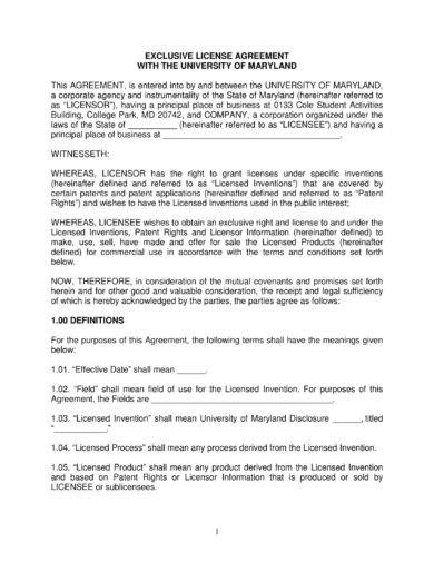 10 Patent License Agreement Examples Pdf Word