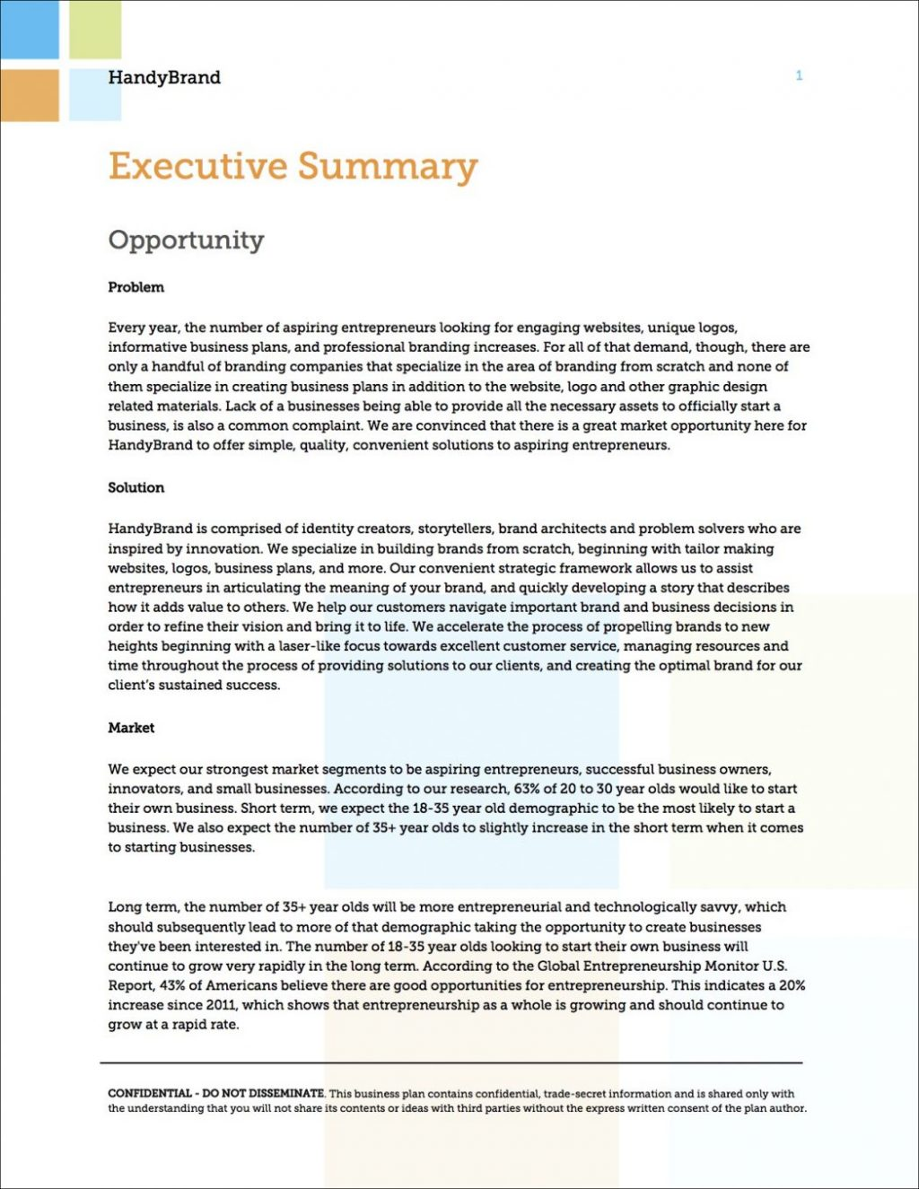 executive summary for research plan example