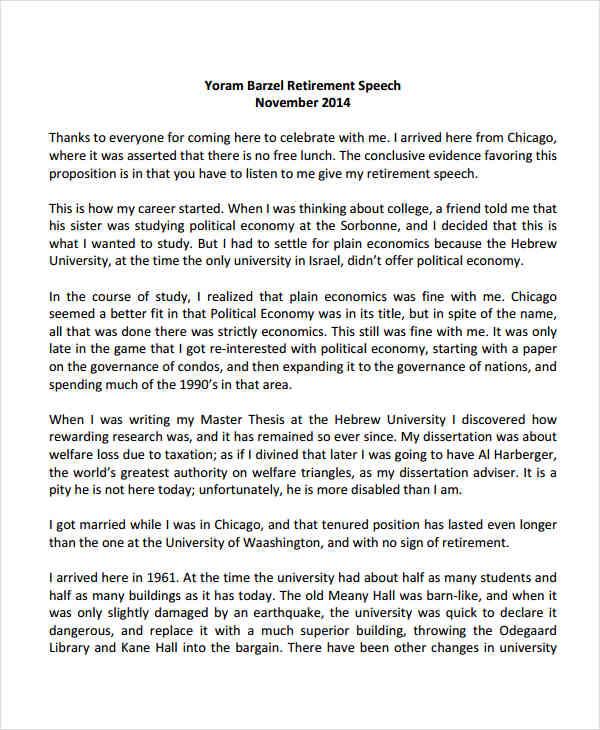 Speech example essay