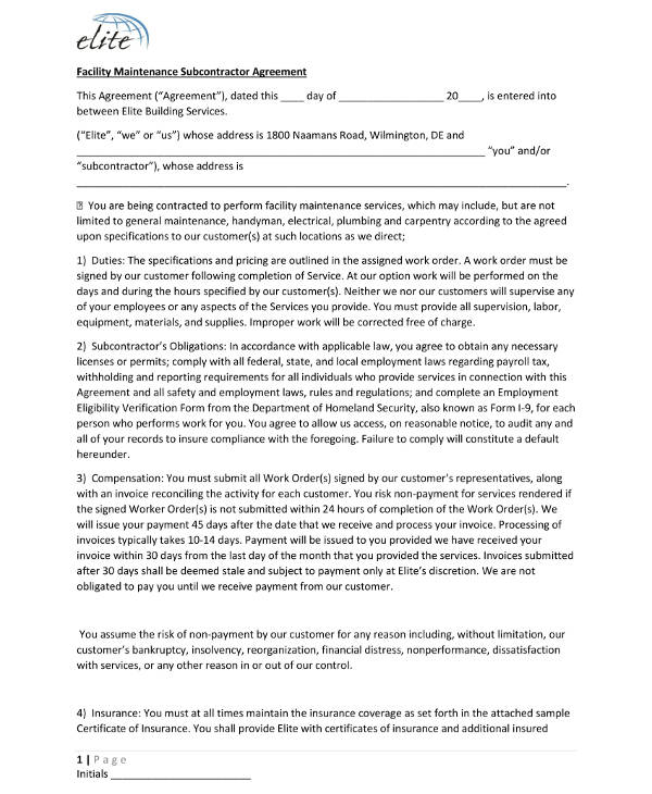 facility maintenance subcontractor agreement example