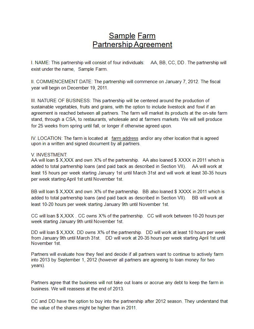 farm partnership agreement example