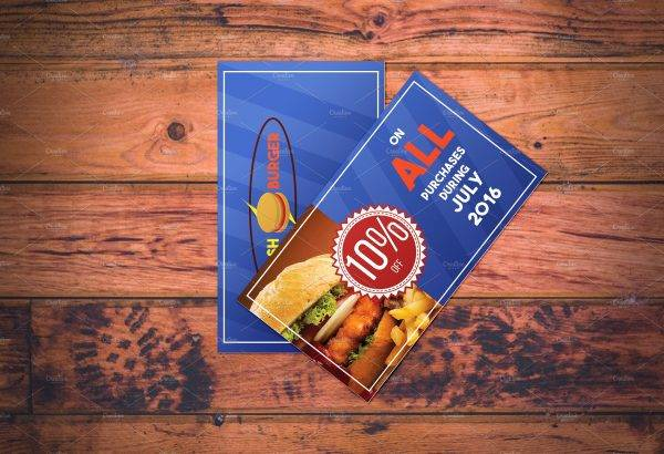 fast food restaurant payment coupon or voucher example