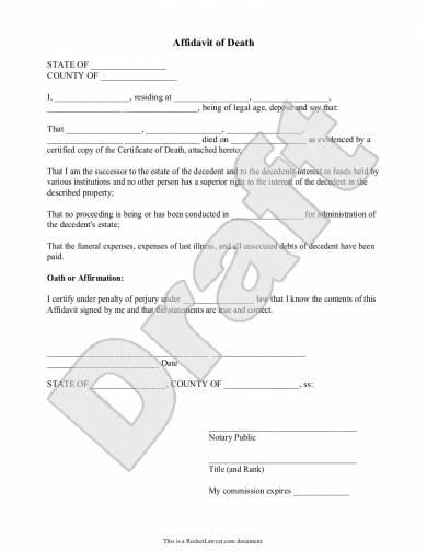 6+ Affidavit of Death Examples - PDF   Examples