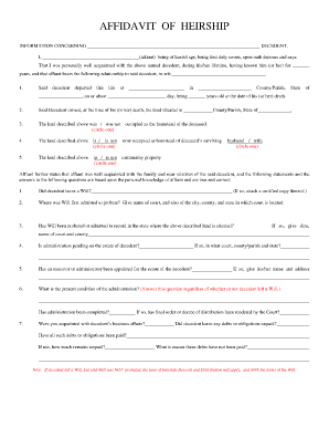 fillable affidavit of heirship
