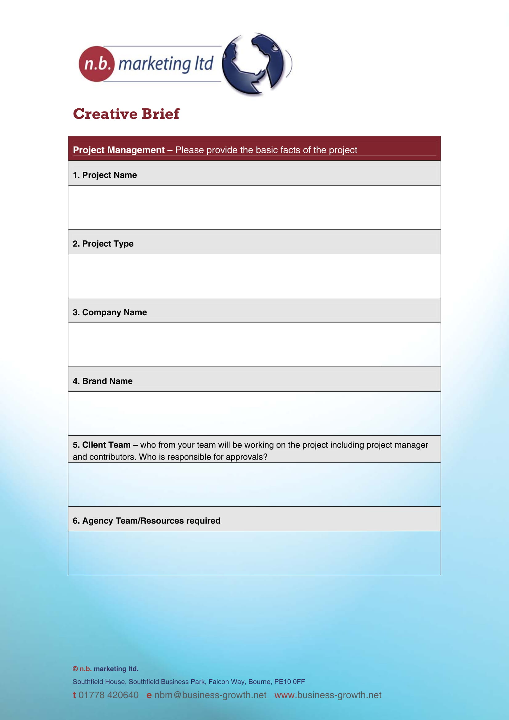 fillable creative brief form example