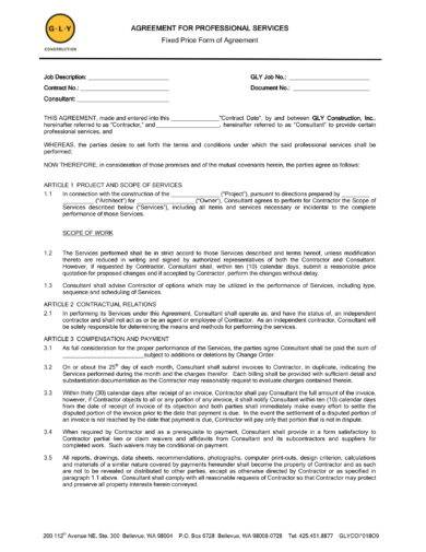 fixed price form of agreement for professional services example