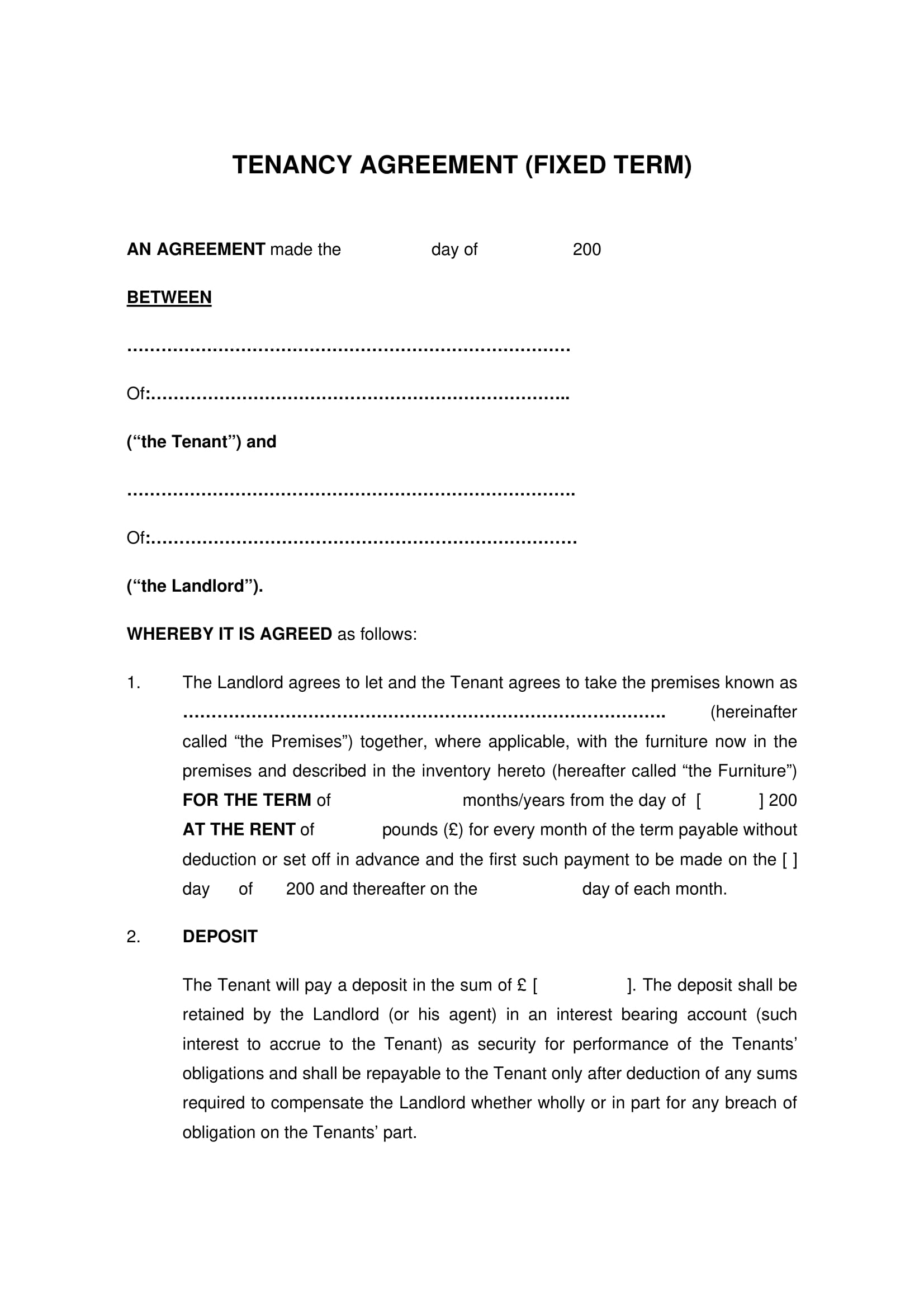 fixed term tenancy agreement example
