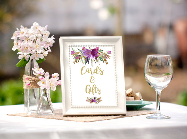 floral baby shower table card example