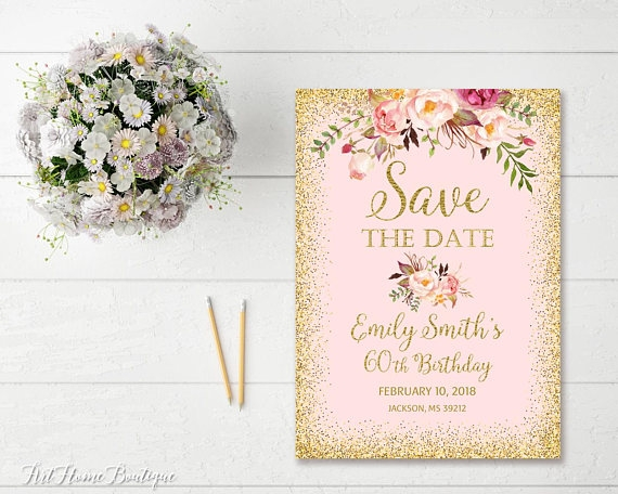 floral birthday save the date design example