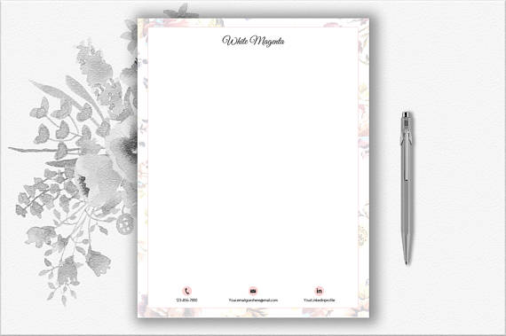 floral design personal letterhead example