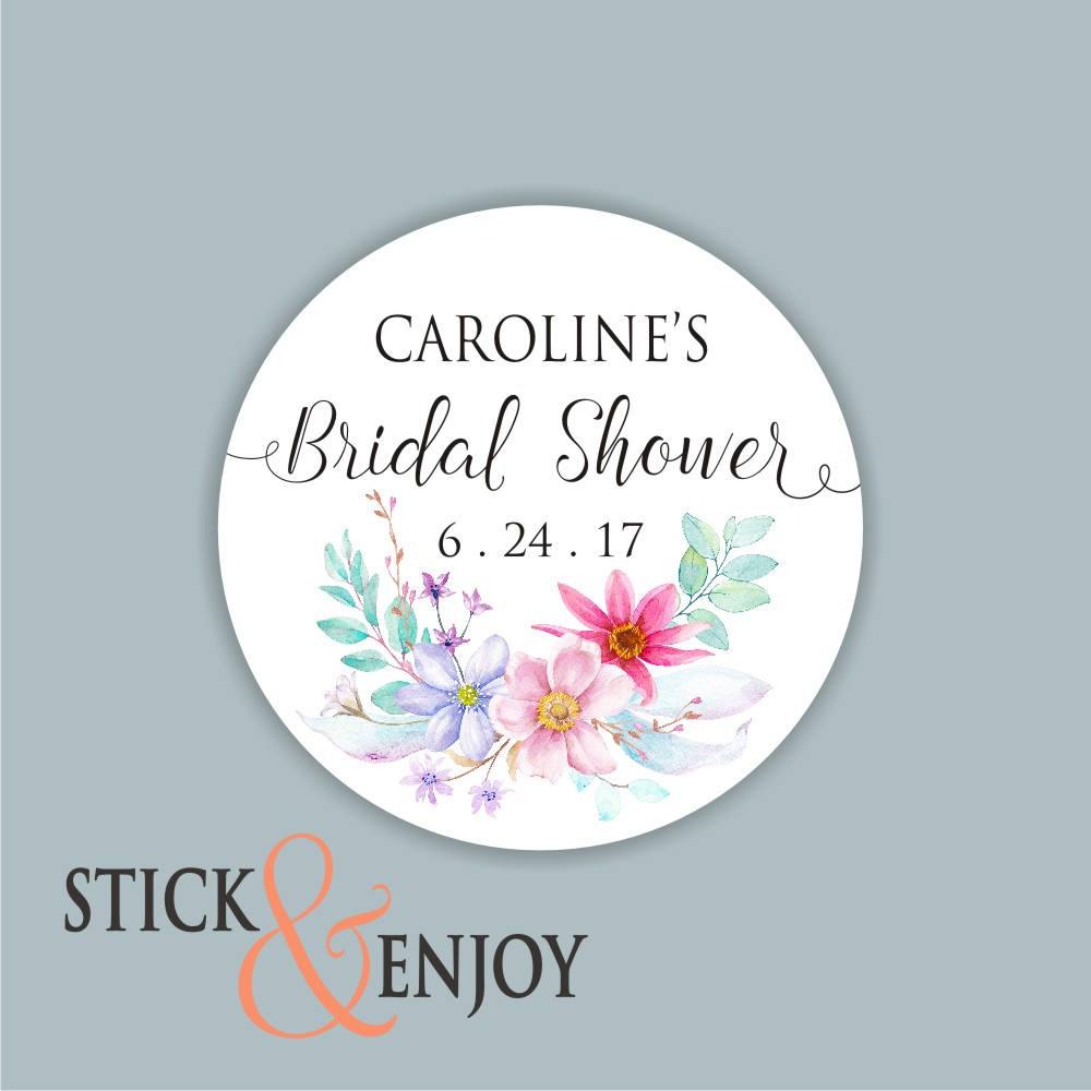 floral waterproof bridal shower label example