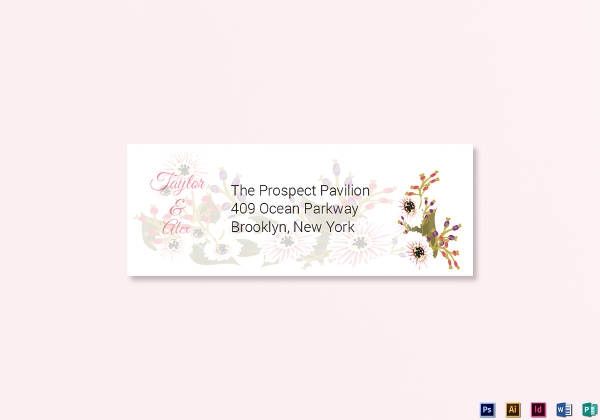 floral wedding address labels card example