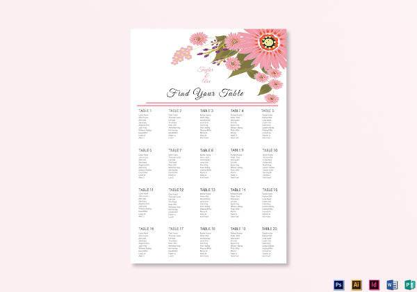 floral wedding seating chart example1