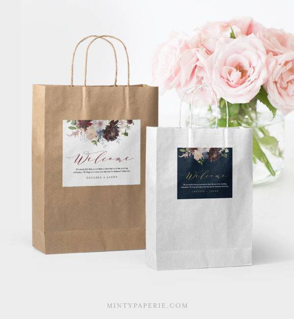 floral welcome bag label example1