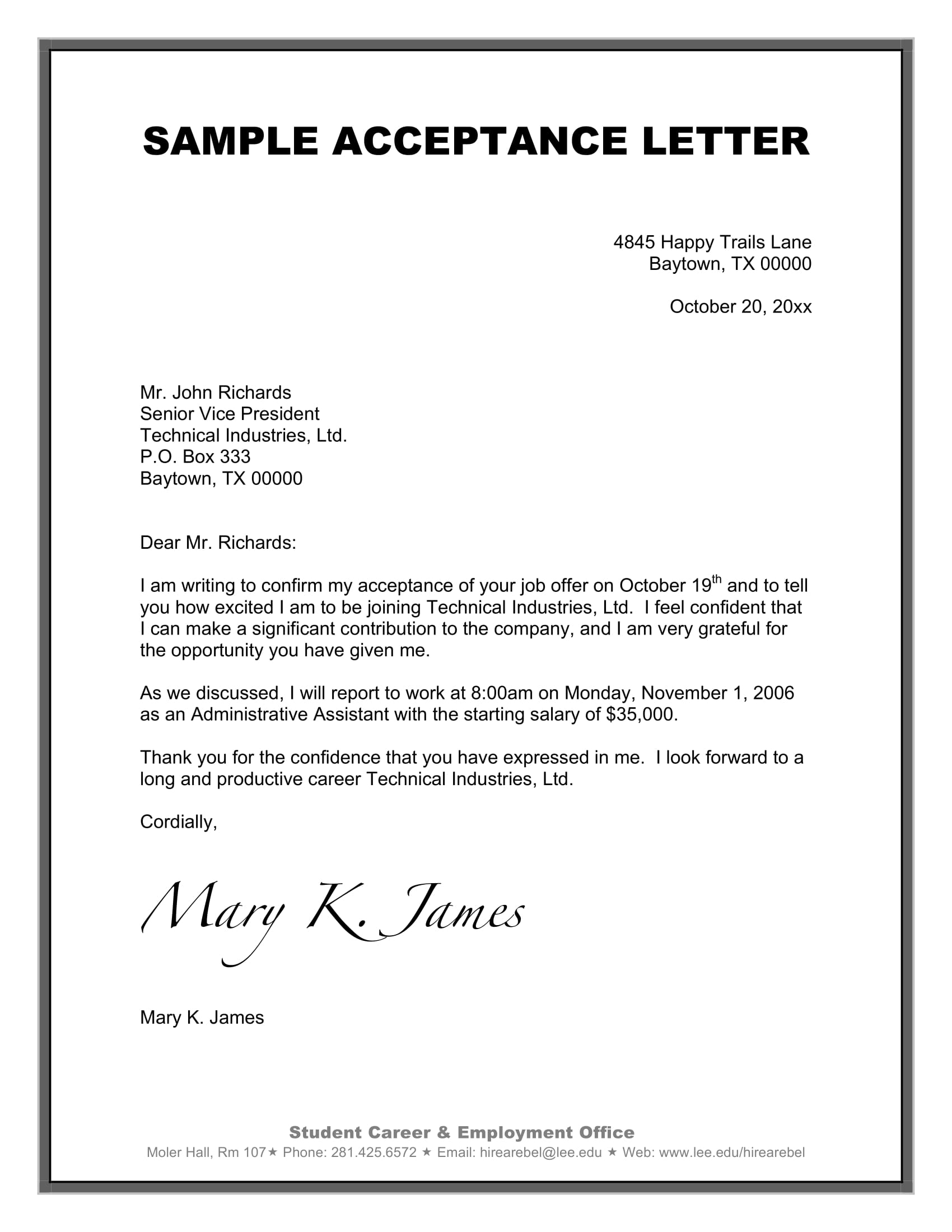 follow up job acceptance letter example