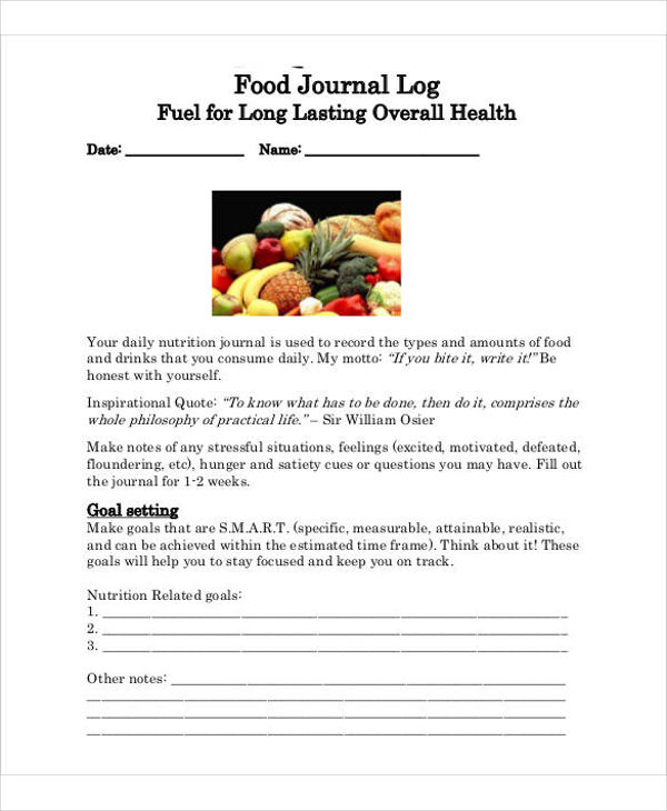 food and activity journal log template example1
