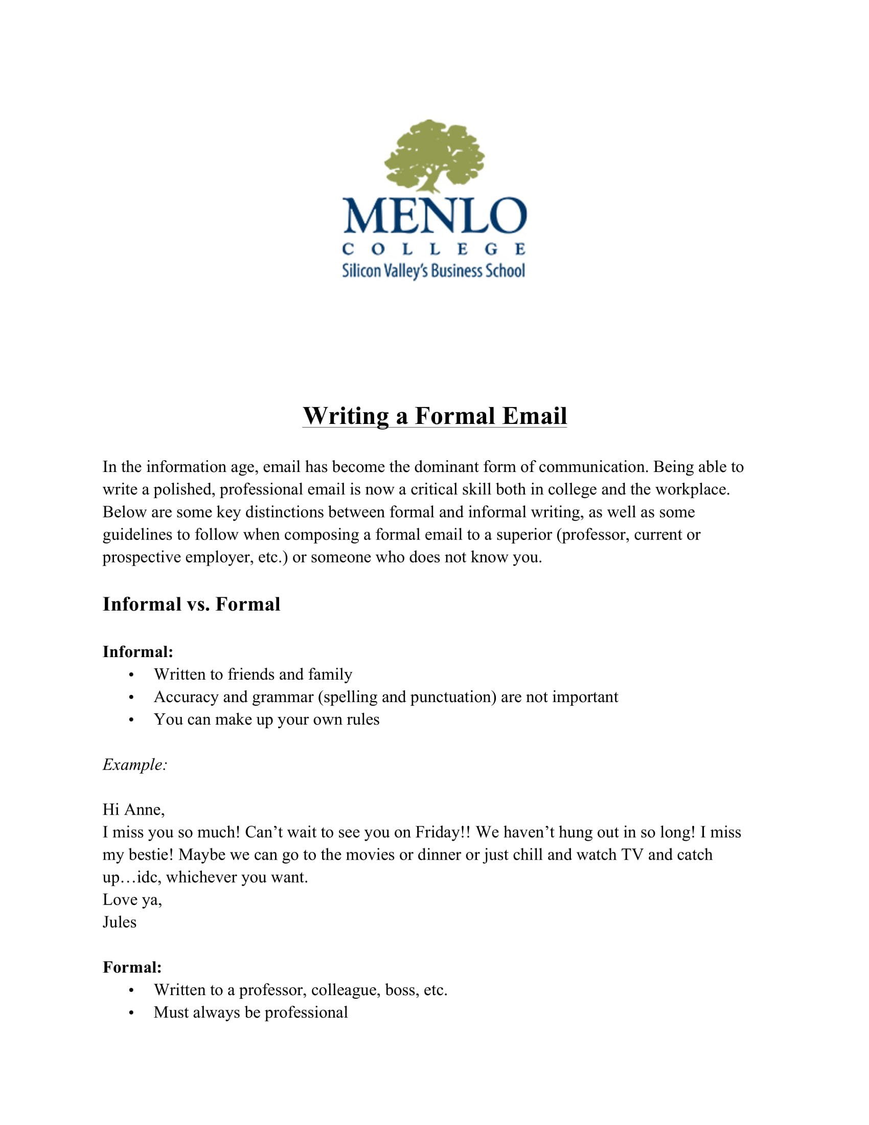 formal business email writing example