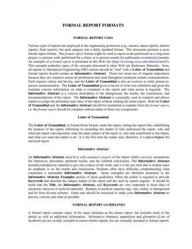 Formal Business Report Examples PDF DOC - Formal business report template
