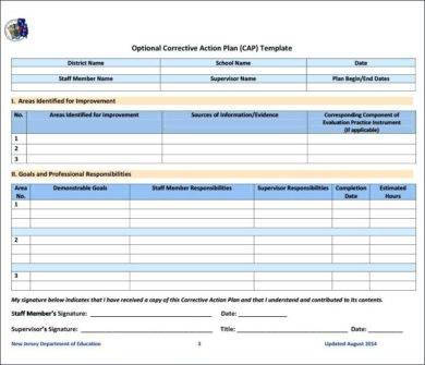 formal corrective action plan example1
