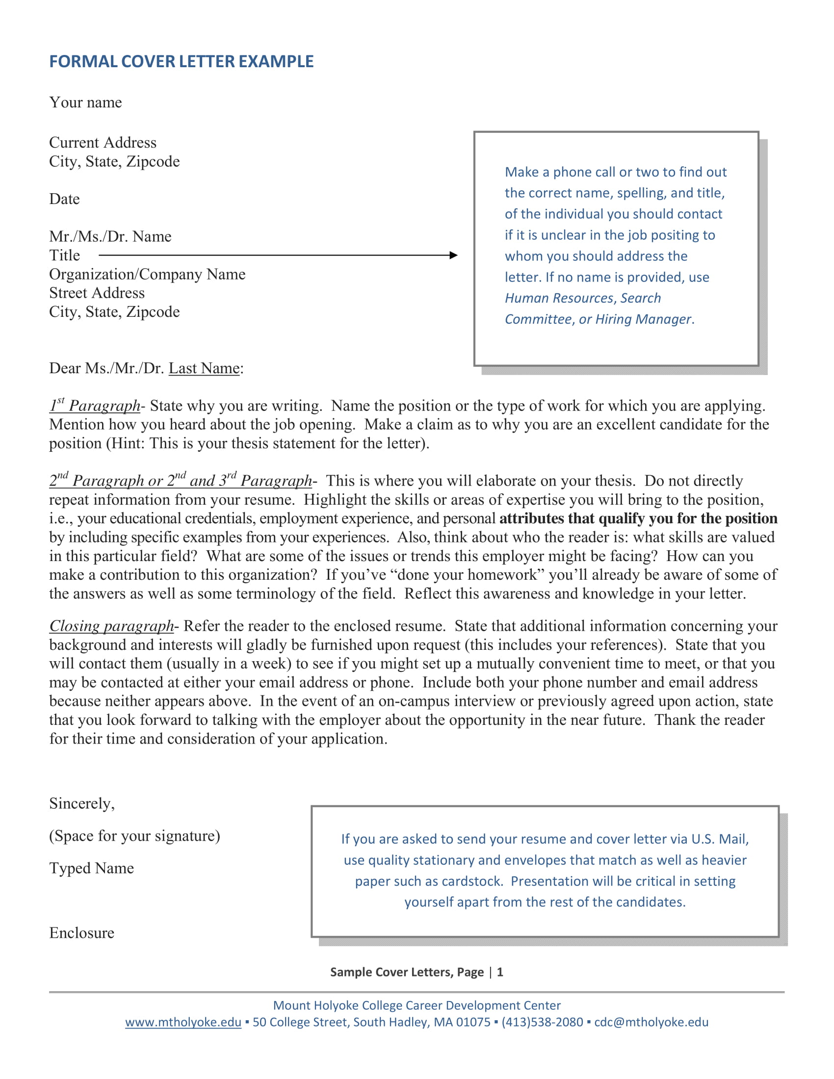 Official Cover Letter Examples  Pdf
