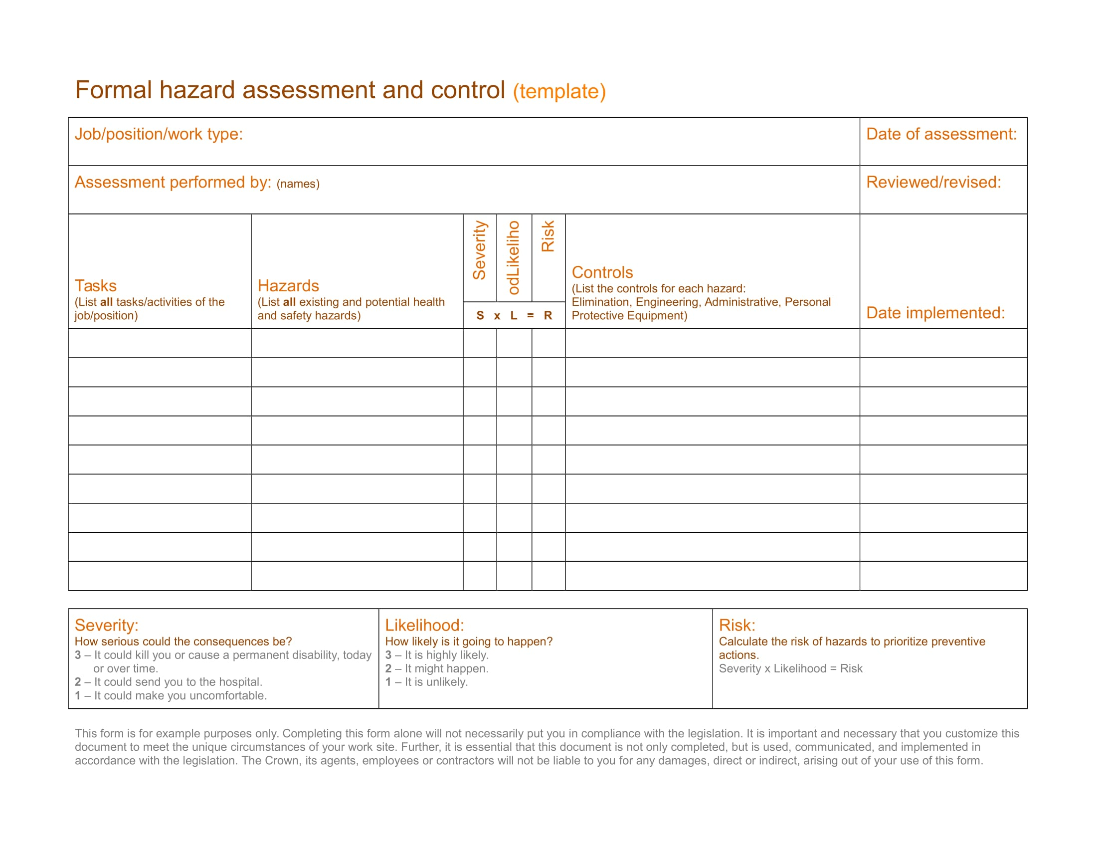 formal hazard assessment and control template example 1
