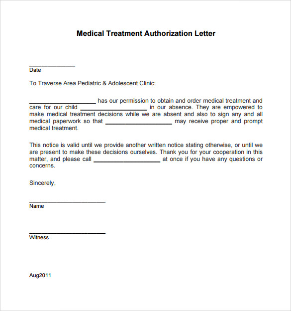 formal medical treatment authorization letter example