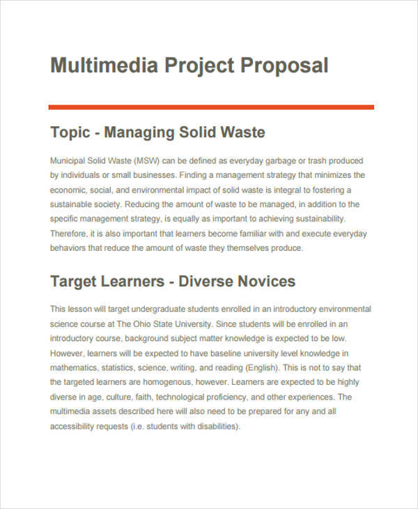 formal multimedia project proposal