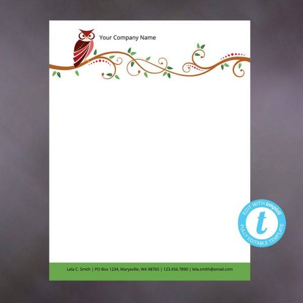 formal owl letterhead example
