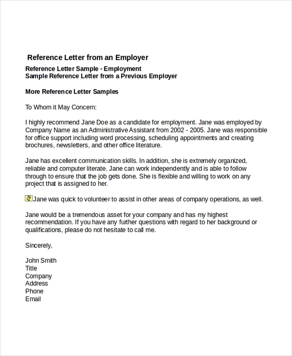 formal reference letter for employment example