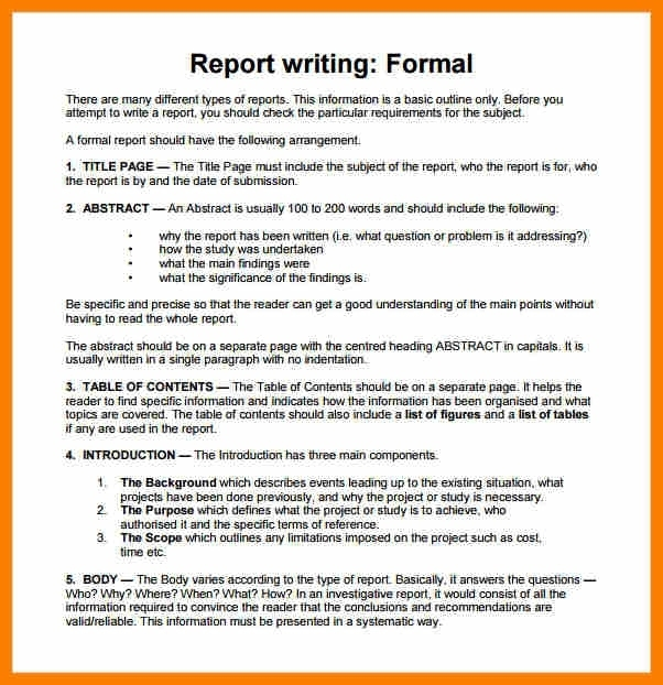 Report example essay