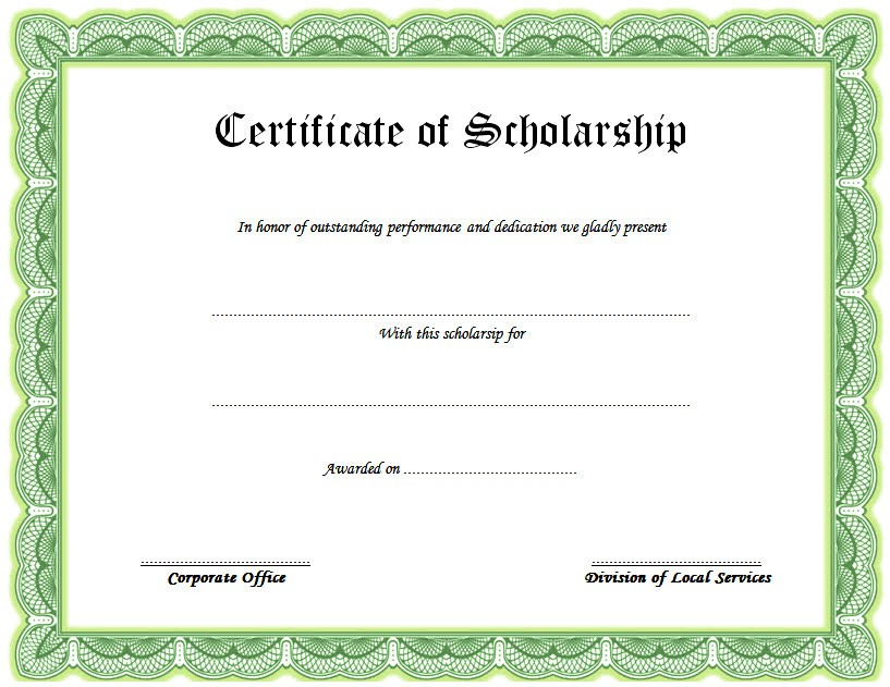 framed scholarship award certificate example