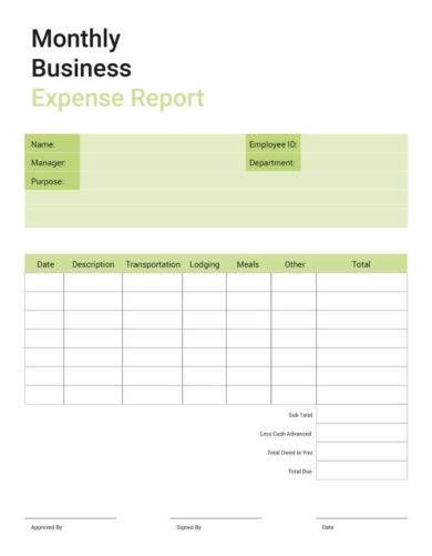 free business expense report1
