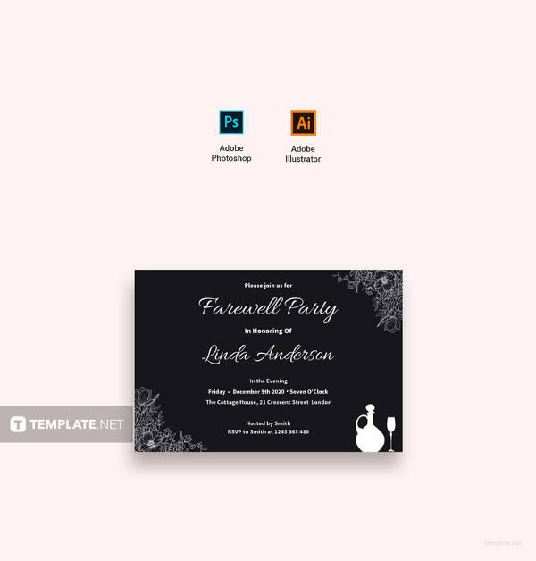 free chalkboard farewell invitation