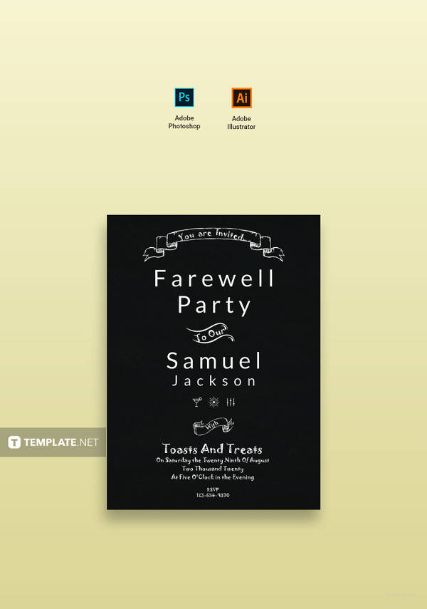 free chalkboard farewell party invitation
