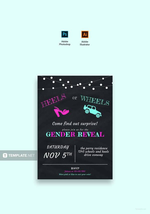 free chalkboard gender reveal invitation