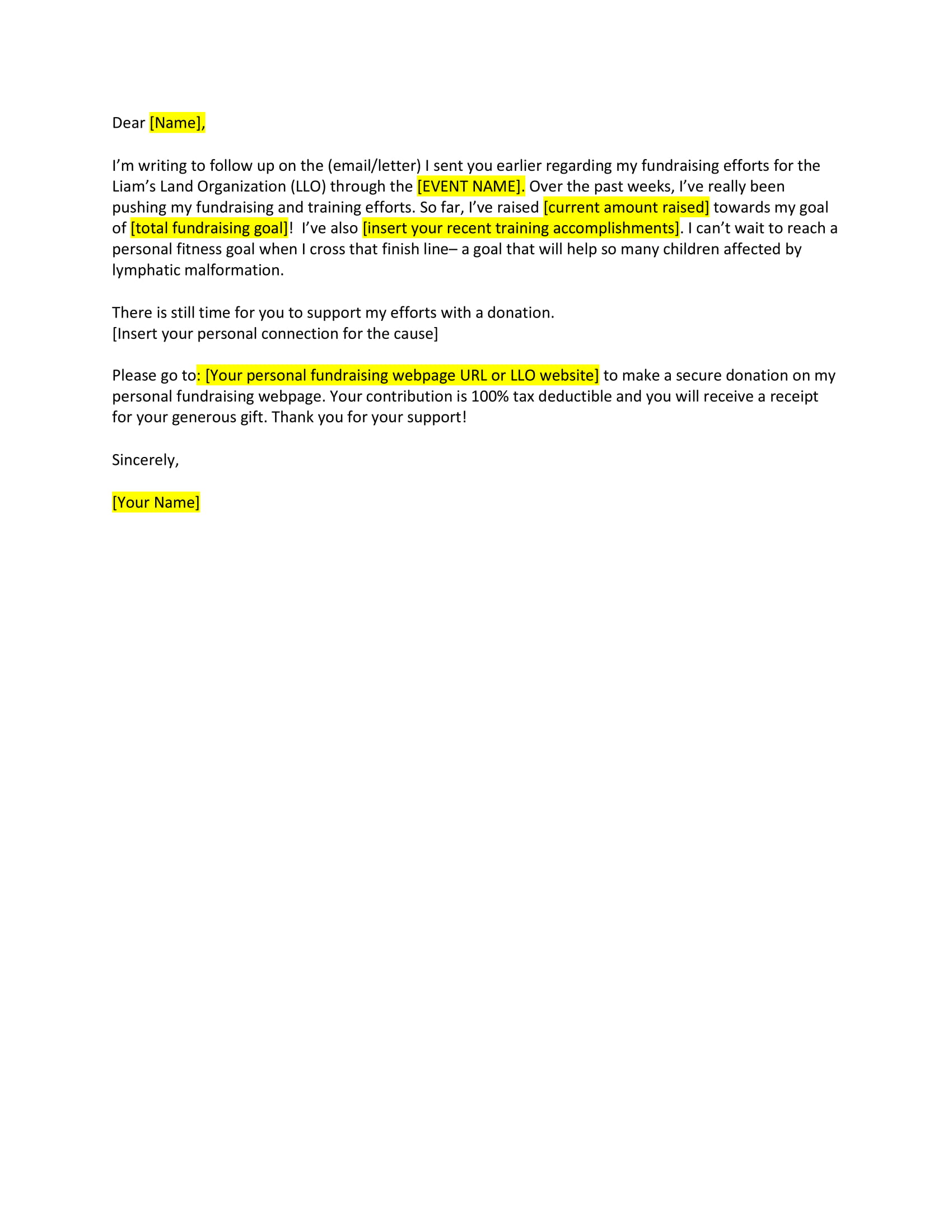 fundraising follow up letter example