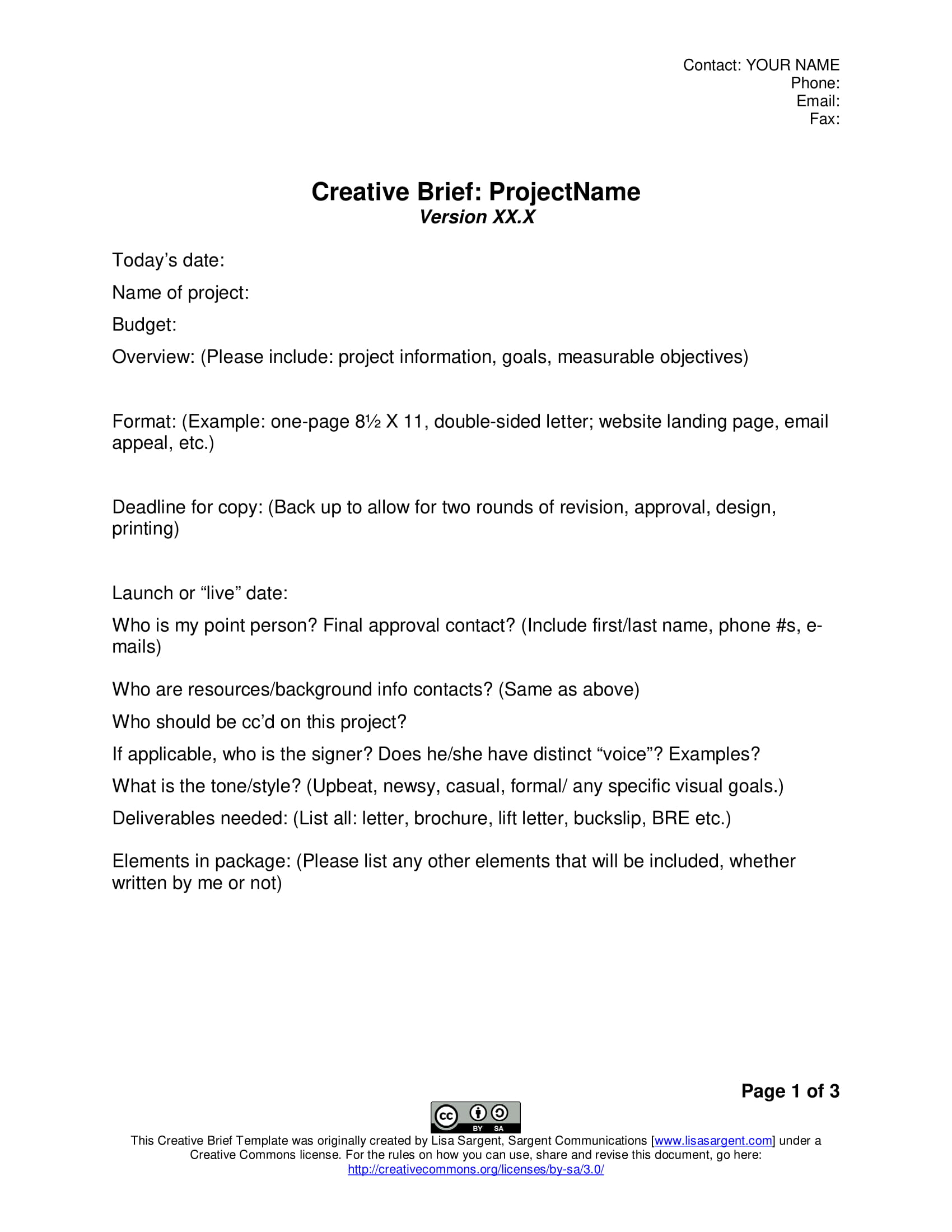 general creative brief template example