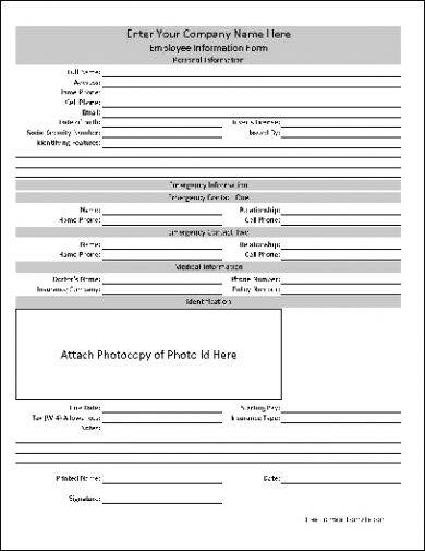 15  employee information form examples