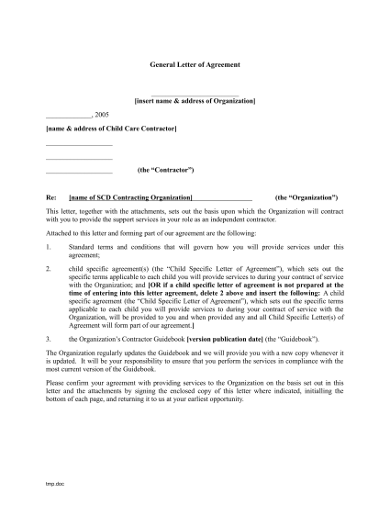 general letter of agreement template example