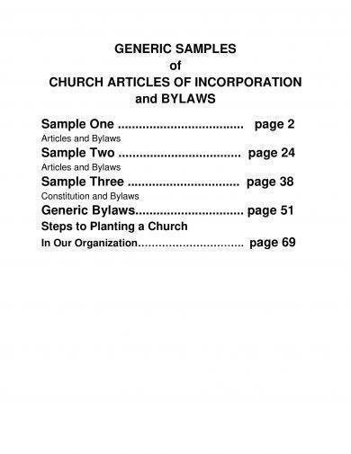 generic church articles of incorporation example