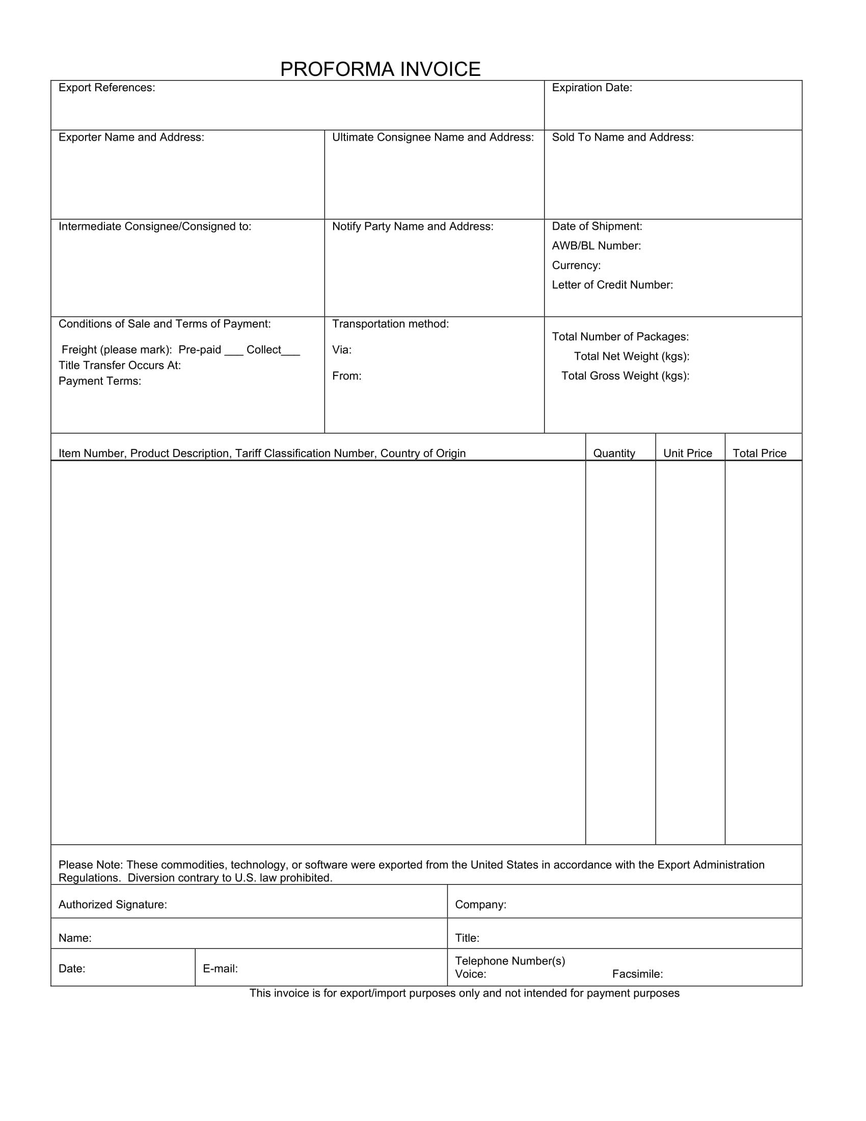 generic pro forma invoice example