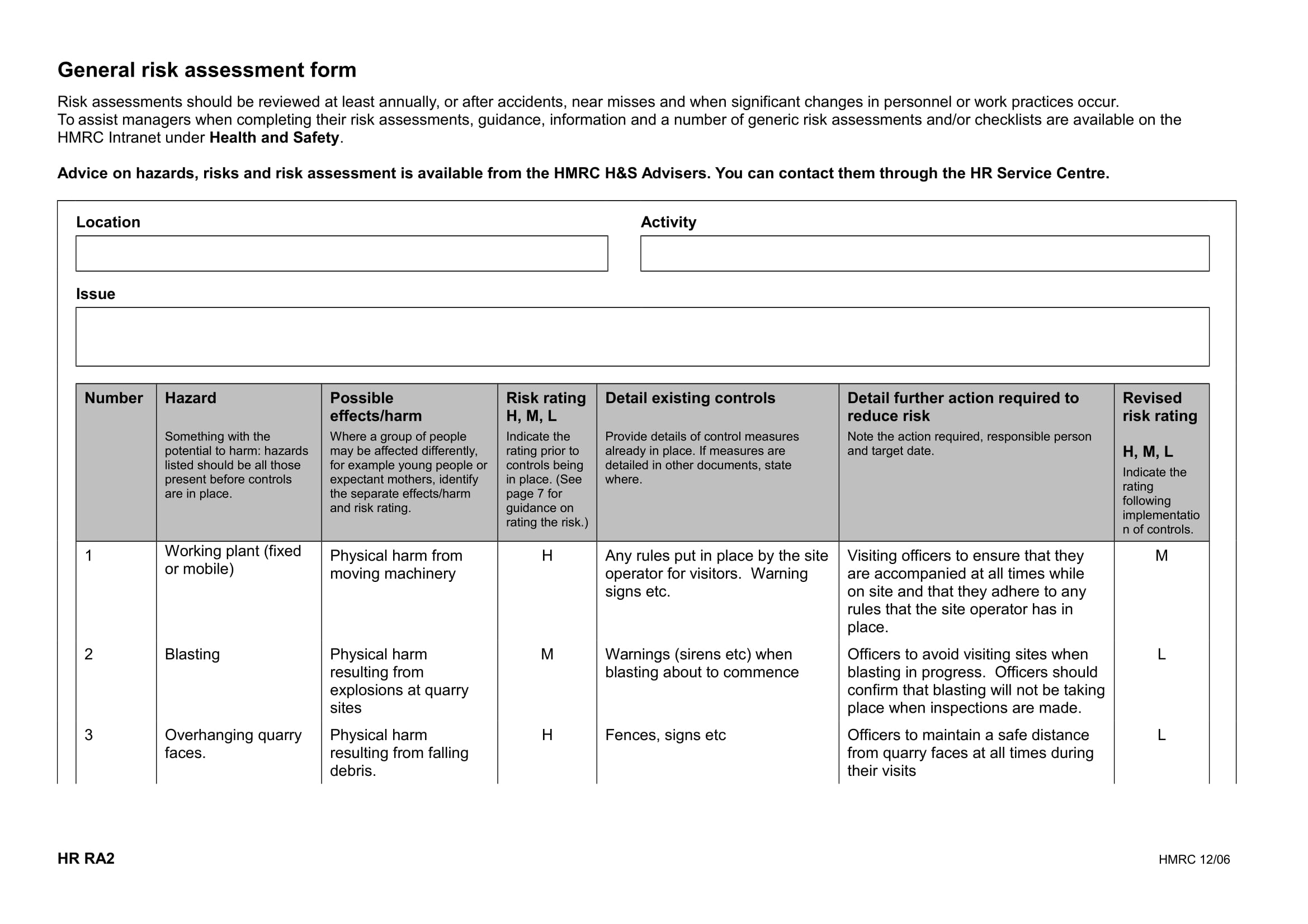 generic risk assessment form example 1