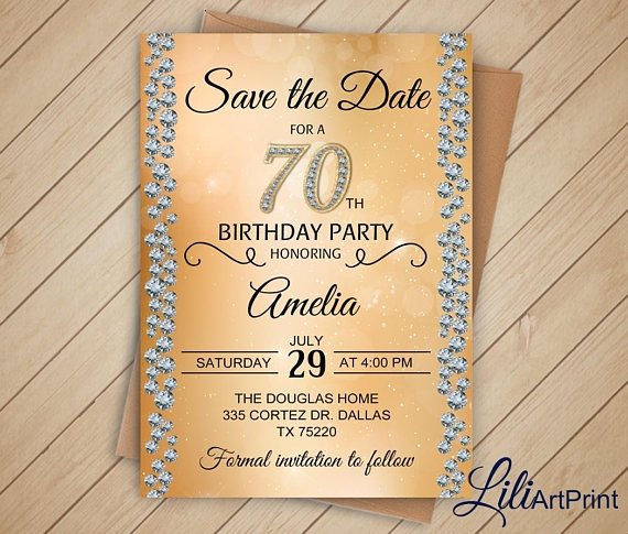 gold birthday save the date design example