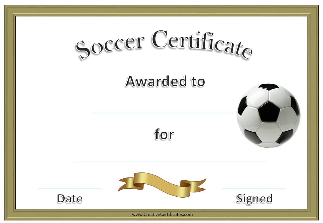 gold border soccer award certificate example
