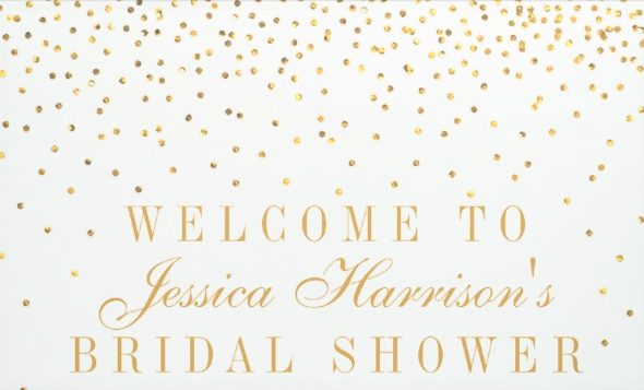 gold confetti bridal shower banner example e1528773597874