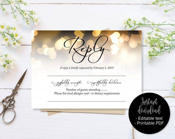 gold hearts rsvp label example1